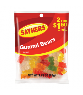 Sathers Gummi Bears 3.25oz (92g) Sweets and Candy Sathers
