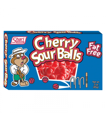 Shari Candies Cherry Sour Balls Theatre Box - 3oz (85g) Sweets and Candy