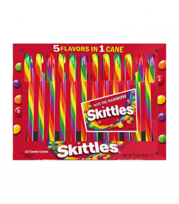 Skittles 5 Flavours in 1 Candy Canes - 5.3oz (150g) [Christmas] Sweets and Candy Skittles