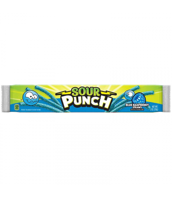 Sour Punch Blue Raspberry Candy Straws - 2oz (57g) Soft Candy Sour Punch