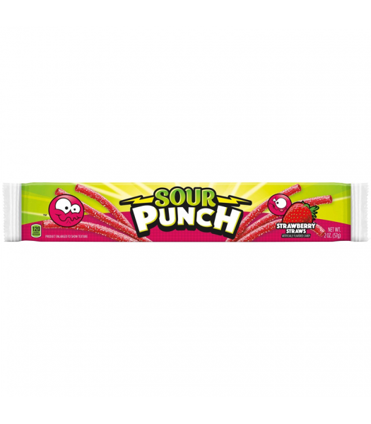 Sour Punch Strawberry Candy Straws - 2oz (57g) Soft Candy Sour Punch
