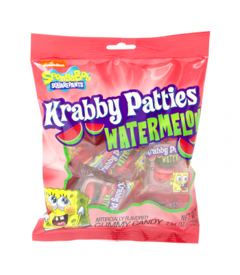 Spongebob Squarepants Gummy Krabby Patties Watermelon Peg Bag - 2.54oz (72g)