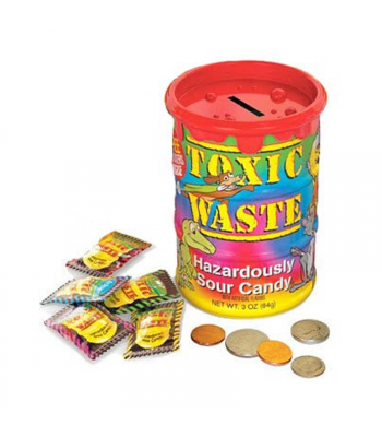 Toxic Waste Tye-Dye Barrel - Coin Bank With Candy - 3oz (84g) Sweets and Candy Toxic Waste