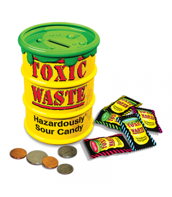 Toxic Waste Yellow Barrel - Coin Bank With Candy - 3oz (84g) Sweets and Candy