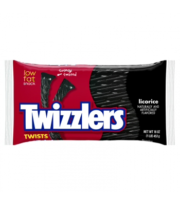 Twizzlers Black Licorice Twists 16oz (453g) Soft Candy Twizzlers
