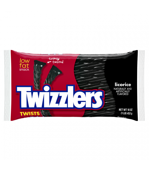 Twizzlers Black Licorice Twists 16oz (453g) Sweets and Candy Twizzlers