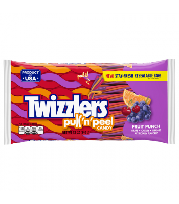 Twizzlers - Fruit Punch Flavour Pull n Peel - 12oz (340g) Soft Candy Twizzlers