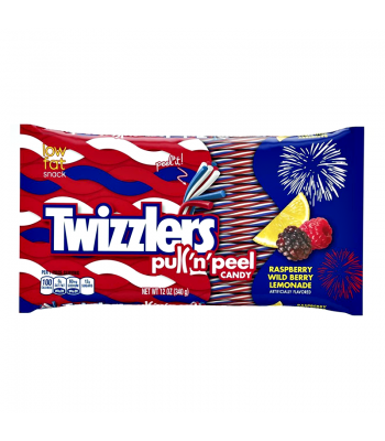 Clearance Special - Twizzlers Patriotic Red, White and Blue Pull'n'Peel Twists 12oz (340g) ** Best Before: May 2018 ** Clearance Zone