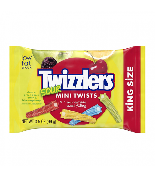 Twizzlers Sour Mini Twists King Size - 3.5oz (99g) Sweets and Candy Twizzlers