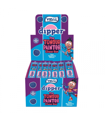 Vidal Dipper Tongue Painter Sour Raspberry Chew Bar - SINGLE Sweets and Candy Vidal