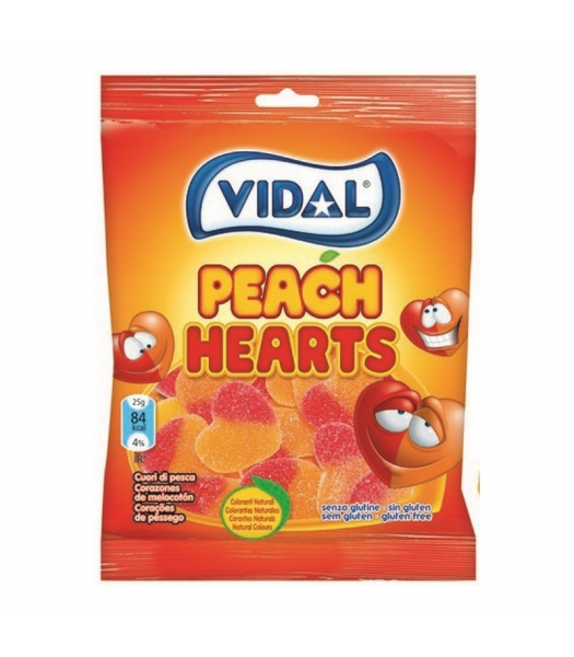 Vidal Peach Hearts - 3.5oz (100g) Sweets and Candy Vidal