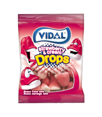 Vidal Strawberry & Cream Drops - 3.5oz (100g) Sweets and Candy Vidal