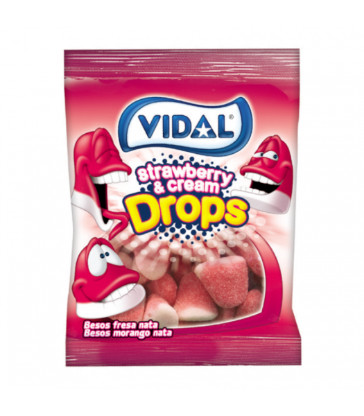 Vidal Strawberry & Cream Drops - 3.5oz (100g) Sweets and Candy Vidal