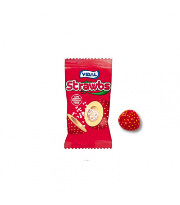 Vidal Strawbs Strawberry Bubble Gum - SINGLE Sweets and Candy
