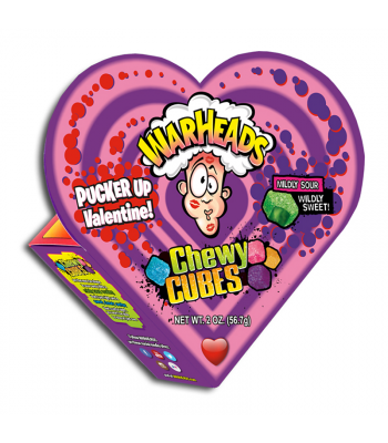 Warheads Sour Chewy Cubes Heart Box 2oz (56.7g) Sweets and Candy Warheads