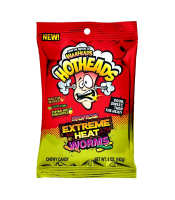 Warheads Hotheads Extreme Tropical Heat Worms 5oz (142g) Soft Candy Warheads