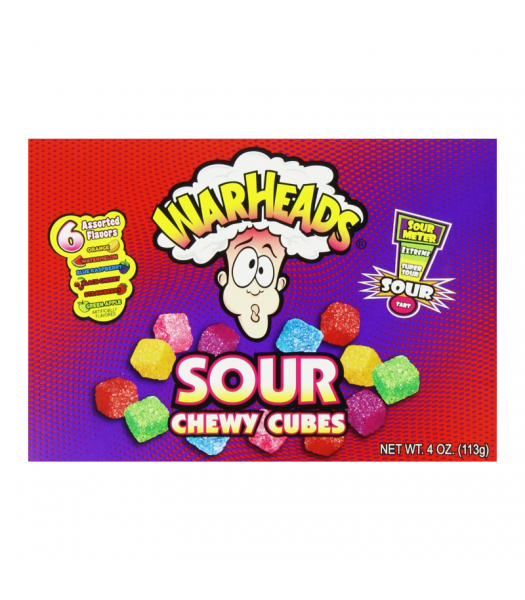 Warheads - Sour Chewy Cubes Theatre Box 4oz (113g) Soft Candy Warheads
