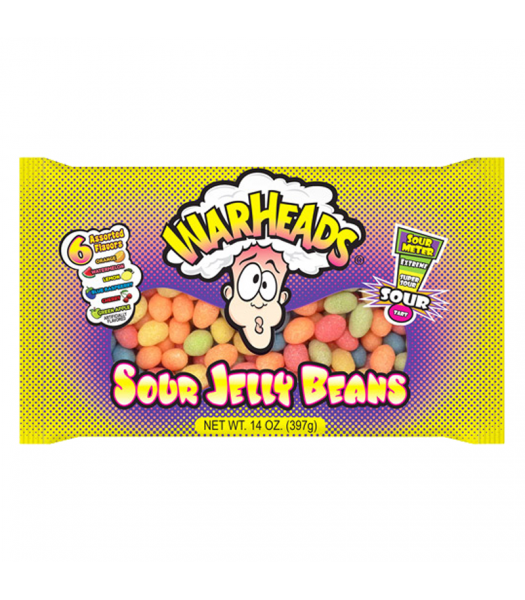 Warheads Sour Jelly Beans - 14oz (397g) Sweets and Candy Warheads