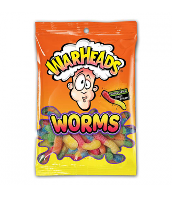 Warheads - Sour Worms - 5oz (142g) Soft Candy Warheads