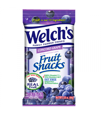 Welch's Fruit Snacks Concord Grape 2.25oz (64g) Soft Candy Welch's