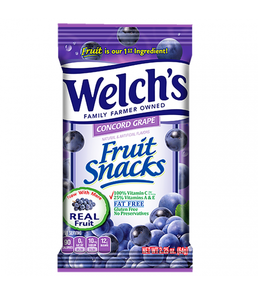 Welch's Fruit Snacks Concord Grape 2.25oz (64g) Sweets and Candy Welch's