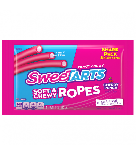 SweeTarts Soft & Chewy Ropes Share Pack (Formally Kazoozles) - Cherry Punch 3.5oz (99.2g) Sweets and Candy Nestle