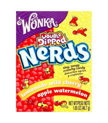 Wonka Nerds Double Dipped Lemonade Wild Cherry Apple Watermelon 1.65oz (46.7g) Hard Candy Wonka