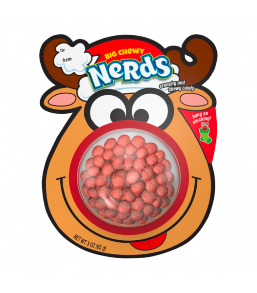 Xmas Big Chewy Nerds Reindeer Stocking Hanger - 3oz (85g) Sweets and Candy Wonka
