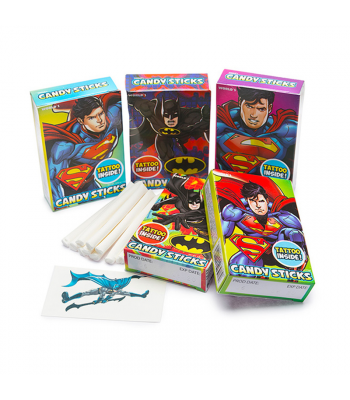 Batman & Superman Candy Sticks w/ Tattoo - 0.52oz (15g) - SINGLE BOX Sweets and Candy