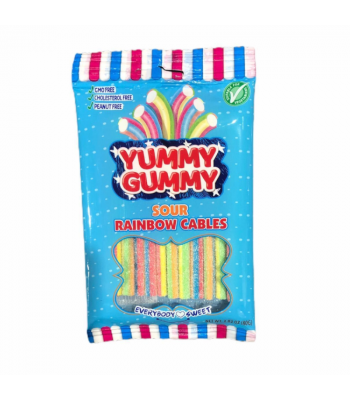 Yummy Gummy Licorice Sour Rainbow Cables - 2.8oz (80g) Sweets and Candy