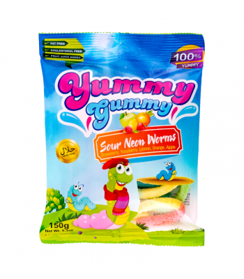 Yummy Gummy Sour Neon Worms - 5.3oz (150g) Sweets and Candy