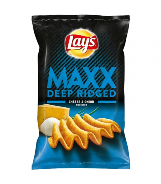 Lay's MAXX Deep Ridged Cheese & Onion Flavoured Potato Crisps - 130g Snacks and Chips Frito-Lay