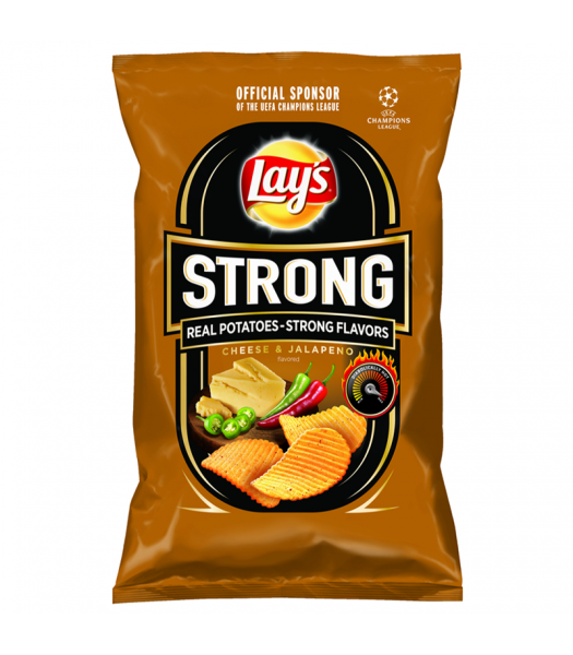 Lay's Strong Cheese & Jalapeno Flavoured Crinkle Cut Potato Crisps - 130g Snacks and Chips Frito-Lay