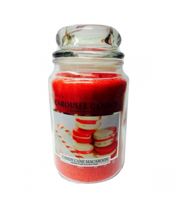 Carousel Candles - Candy Cane Macaroon Large Jar Candle 23oz