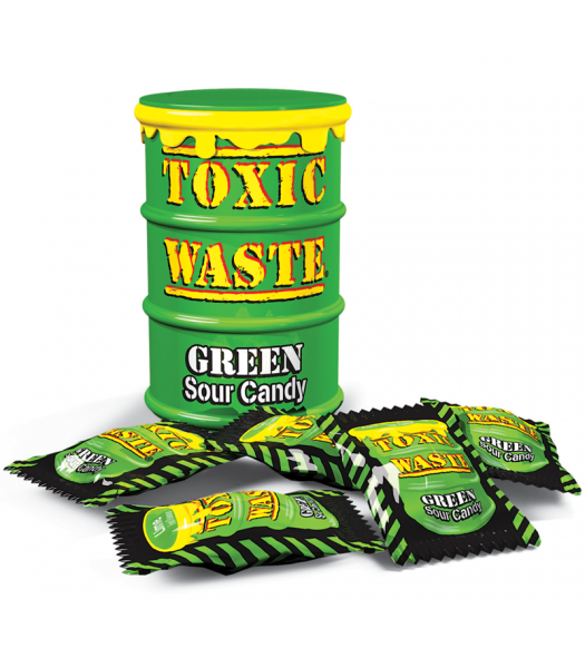 Toxic Waste Green Drum Extreme Sour Candy 1.5oz (42g) Hard Candy Toxic Waste