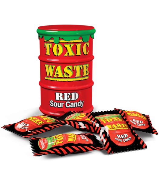 Toxic Waste Red Drum Extreme Sour Candy 1.5oz (42g) Hard Candy